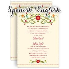 Bilingual Spanish English Blusa Bordada Ecru Invitation