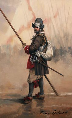 "Spanish Pikeman of the ""Tercio de Asturias"" in Europe By Augusto Ferrer Dalmau. Dark Fantasy, Fantasy Rpg, Renaissance, Military Art, Military History, Terra Nova, Thirty Years' War, Templer, Landsknecht"