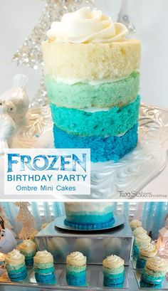 Take cupcakes to the next level with these Disney Frozen Ombre Mini Cakes for a Frozen Birthday Party - so beautiful and very yummy. For more great Frozen Party ideas follow us at http://www.pinterest.com/2SistersCraft/