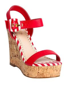 Red + White Stripe Wedges.  Perfect with our UjENA Hourglass Skirted Bikini.