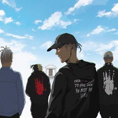 Image may contain: one or more people, sky, cloud and outdoor Anime Rapper, Rapper Art, Game Character Design, Character Art, Rap Us, Astronaut Drawing, Trill Art, Emo Wallpaper, Dope Cartoons