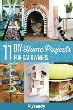 """11 Creative Cat DIY Home Projects for Cat Lovers - """"Cat""""- topia! - 11 Creative Cat DIY Home Projects for Cat Lovers - """"Cat""""- topia! Animal Projects, Fun Projects, Diy Pour Chien, Diy Jouet Pour Chat, Gatos Cool, Diy Cat Tree, Cat Trees, Cat Hacks, Ideal Toys"""