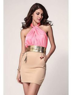 Dizzying Pink Ruched Halterneck Cocktail Fashion Dress | buy sexy Club Dresses , Club wear online in india | StringsAndMe