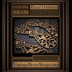 3PC #VINTAGE #BRASS #BOW #SHAPE #FILIGREE    Genuine #bare #raw brass with #natural #patina    These #gorgeous vintage filigrees have slightly #dapt (domed) fronts    These are substantial sturdy pieces, yet are pliable/bendable    You receive 3 filigrees    Each filigree measures 2 1/8 inches by 5/8 inch.    Genuine vintage brass in excellent, never used condition    Naturally nickel and lead free    Hand Oxidized And Naturally Aged Patinas......From Our Studio To Yours    Learn to work…