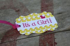 Items similar to Hot Pink, Its A Girl Baby Duck Tag, Perfect for Baby Showers, Ducks, Adorable Favors For Baby Shower on Etsy Baby Shower Tags, Baby Showers, Cupcake Picks, Baby Ducks, Wine Bottle Labels, Retirement Parties, Card Stock, Hot Pink, Favors