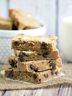 Chocolate Chip Peanut Butter Bars - This Gal Cooks #peanutbutter #chocolate #cookies