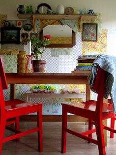 Red chairs!! Vintage Home                              Love the red!