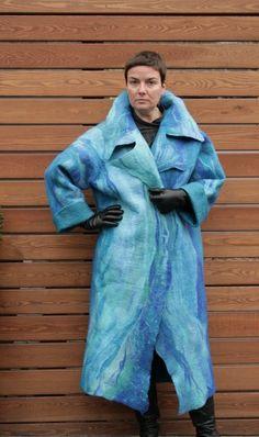 Пальто Горное озеро шерсть и шелк. Пальто от VERAALEXANDEROVA