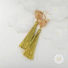 cute cat golden tassel earrings  Fashionable Tassel Earrings #catearrings #tasselearrings