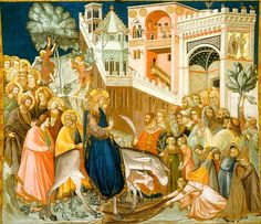 Lorenzetti Entry of Christ into Jerusalem. Fresco 1 depicting the triumphal entry of Jesus Christ into Jerusalem. Fra Angelico, Catholic Art, Religious Art, Religious Paintings, Roman Catholic, Triumphal Entry, Son Of David, Sunday Images, Gothic