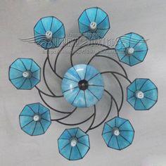 Mediterranean minimalist modern living room lamp antique Tiffany blue dome…
