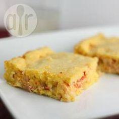 Torta de palmito com massa de milho @ allrecipes.com.br - Torta de palmito e requeijão com massa de milho feita no liquidificador. Fácil de fazer e uma delícia.