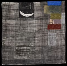 Dorothy Caldwell, Artifact, 2011, wax resist and silkscreen discharge on cotton with stitching and appliqué, 24 X 24 in.