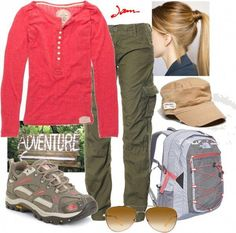 A great outfit for hiking/biking/horseback Cute Hiking Outfit, Trekking Outfit, Hiking Outfits, Casual Skirt Outfits, Sport Outfits, Cute Outfits, Summer Camping Outfits, Hiking Fashion, Outdoor Fashion