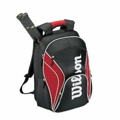 Wilson '12 Federer Tennis Backpack-Red/Black/White by Wilson. $39.95. nis gear With enough space to hold up to 2 racquets this Wilson backpack is made for the serious pl. yer There is a large accessory pocket to hold extra gear like grips wristbands dampeners etc as wel. The Wilson Roger Federer Tennis Backpack is an outstanding bag with plenty of space for all your ten. leek red and black color scheme Adjustable backpack straps make this bag ideal for easy an...