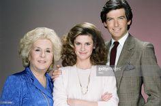 Doris Roberts as Mildred Krebs, Stephanie Zimbalist as Laura Holt, Pierce Brosnan as Remington Steele --