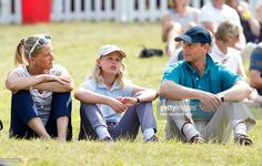 (EMBARGOED FOR PUBLICATION IN UK NEWSPAPERS UNTIL 48 HOURS AFTER CREATE DATE AND TIME) Sophie, Countess of Wessex, Lady Louise Windsor and Prince Edward, Earl of Wessex sit on the grass to watch the cross country phase of the competition as they attend day 2 of the Festival of British Eventing at Gatcombe Park on August 8, 2015 in Stroud, England. (Photo by Max Mumby/Indigo/Getty Images)