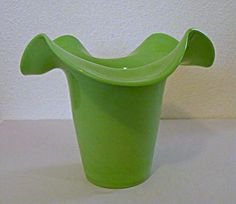 Pastel Green Bohemian Glass Vase Signed with Czech Acid Mark from San Marcos Art Glass Exclusively on Ruby Lane