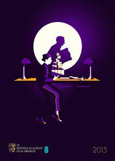 """O cartaz do BAFTA, a última edição do Bafta, o Oscar britânico, realizou-se este passado dia 8 de outubro no Royal Opera House em Londres. Na categoria de melhor filme foram nomeados: """"Homem-pássaro"""", """"Infância"""", """"Grand Hotel"""" Budapeste, """"O jogo da imitação"""" e """"A teoria do tudo"""". Eventualmente ganhou """"Infância"""", mas a agência criativa """"Human After All"""" e ilustrador Malika Favre criaram um cartaz para cada um nomeado com muitos resultados intrigantes."""