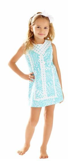 Lilly Pulitzer Girls Mini MacFarlane Shift shown in Shorely Blue Sea Cups.