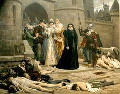 Catalina de Médicis después de la masacre de la Noche de San Bartolomé.