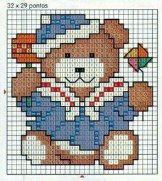 Navy bear cross stitch