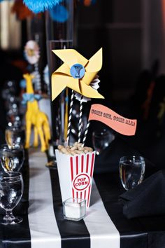 Centerpiece for Cirque de Bebe. Circus themed baby shower by Southern Event Planners.  Photography by Studio J, Memphis, TN
