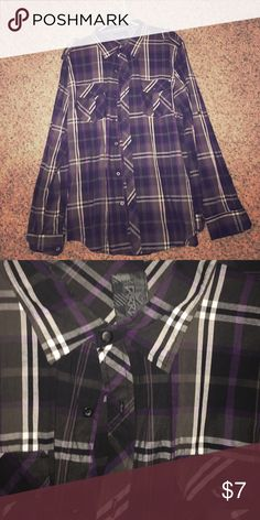 Men's button down shirt This shirt is new without tags, never worn. Great condition, it is black gray and purple with a little white in it Shirts Casual Button Down Shirts