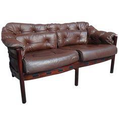 Danish Rosewood Arne Norell Brown Leather Sofa | 1stdibs.com