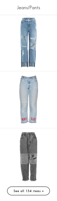 """Jeans/Pants"" by baaby-dooll ❤ liked on Polyvore featuring jeans, bottoms, pants, denim, trousers, blue, straight-leg jeans, distressed straight-leg jeans, destroyed jeans and button-fly jeans"