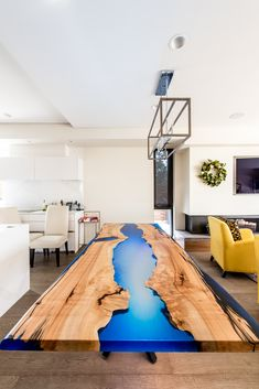 Hard maple with a beautiful blue resin. Live Edge Furniture, Furniture Design, Conference Table, Resin, Studio, Blue, Beautiful, Products, Home Decor