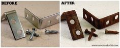 The Easiest Way to Age Metal EVER!  Because sometimes a DIY project just looks better with aged metal.