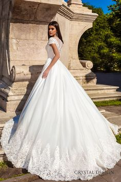 crystal design bridal 2016 lace cap sleeves v neck heavily embellished bodice pretty princess a line ball gown wedding dress sheer back chapel train (florencia) sv