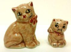 8.95 Vtg Cat Salt Pepper Shakers Mother Kitty Kitten Tan Red Bow No Corks Kitschy #CatSaltAndPepperShakers #Kitsch