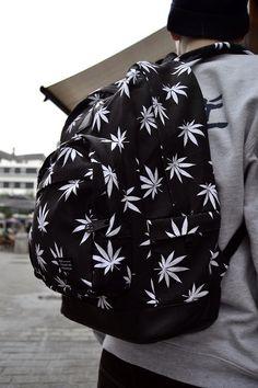 Image via We Heart It https://weheartit.com/entry/126347191/via/2986228 #backpack #bag #black #hemp #leaf #weed #white