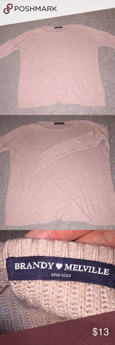 Brandy Melville pink sweater Brandy Melville light pink  sweater. Super cute and fits great, I just had something similar. In good condition only worn a few times :)) Brandy Melville Sweaters Crew & Scoop Necks
