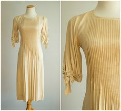 vintage 1980s dress / 80s  pleated drop by HungryHeartVintage