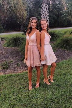 Homecoming Pictures, Homecoming Dresses, Best Friends Chic A-Line V-Neck Short Pink Homecoming Dress with Sequin Homecoming Poses, Homecoming Pictures, Prom Poses, High School Homecoming Dresses, 8th Grade Graduation Dresses, Prom Pictures Couples, Prom Couples, Teen Couples, Hoco Dresses
