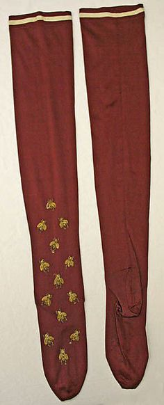 1890's American silk Stockings with bees!  Met museum C.I.41.20.5a, b