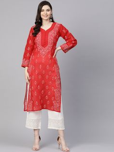 #Ada #handembroidered Red #Cotton #Lucknowi #Chikan Kurti – A100358 offers a comfortable and relaxed silhouette to the wearer, the fabric and embroidery is skin friendly  #Adachikan #chikankari #chikankurti #handcrafted #lakhnavi