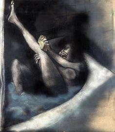 Renato Guttuso (Italian, 1912-1987), Donna seduta nella vasca da bagno [Woman sitting in bathtub]1967. Nitro-painted with an airbrush on canvas paper, 100 x 87 cm.