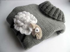 Grey Knitted baby/toddler jumper with a crochet by Pavlaknits, £25.00