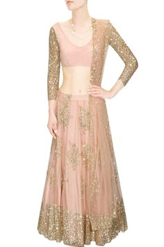 Peach and gold floral sequins embroidered lehenga set available only at Pernia's Pop Up Shop.