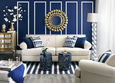 Create a modern glam look by pairing metallics against blue and white