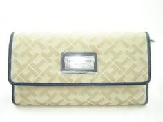 Tommy Hilfiger Women's Checkbook Wallet Tan With Navy Blue Trim * Be sure to check out this awesome product.