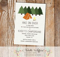 Hiking . Camping . Campfire . Bonfire . S'mores . Party invitation - perfect for birthdays or any other outdoor event!