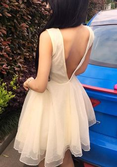 ae73bc44a5f ByChicStyle Apricot Patchwork Grenadine Pleated Backless Mini Dress online  with cheap prices and discover fashion Mini