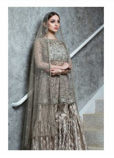 "Our ""ZAIB"" Collection brings you a modern update on the refined craftsmanship that is a cornerstone of Mughal Era Bridals. The minimal yet intricate details and subdued color palette make it the perfect fit for the woman of today. Pakistani Wedding Outfits, Pakistani Dresses, Wedding Attire, Indian Dresses, Shadi Dresses, Pakistani Clothing, Bridal Outfits, Max Dresses, Peplum Dresses"