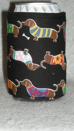 Can Water Bottle Cozy Koozie Dachshunds by favorite4paws on Etsy, $2.00