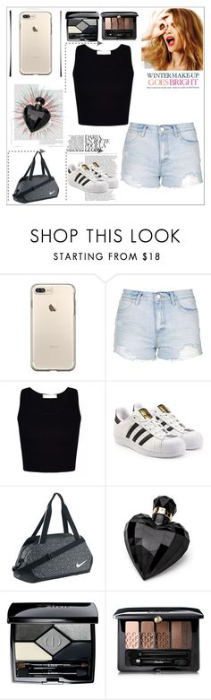 """No caption needed"" by officialajaxxx ❤ liked on Polyvore featuring Topshop, adidas Originals, NIKE, Celestine, Lipsy, Christian Dior and Guerlain"